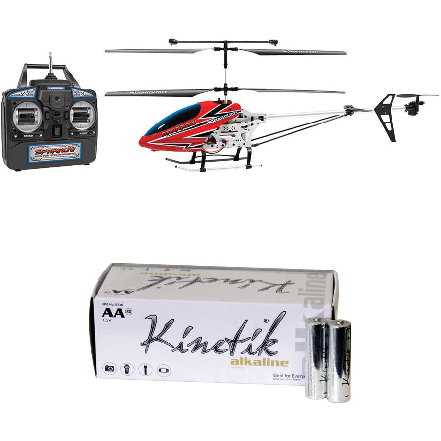 World Tech Toys 35975 3.5-Channel Sparrow RC Gyro Helicopter and Kinetik AA Battery Kit, 50 Pack by World Tech Toys