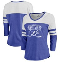 Tampa Bay Lightning Fanatics Branded Women's Vintage Collection Line Shift Color Block Three-Quarter Sleeve Tri-Blend