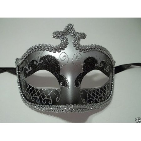 Black Silver Glitter Venetian Masquerade Costume Mask Halloween New Years Party (All Year Halloween Store)