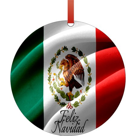 Flag of Mexico Feliz Navidad Round Shaped Flat Semigloss Aluminum Christmas Ornament Tree Decoration - Unique Modern Novelty Tree Décor Favors ()