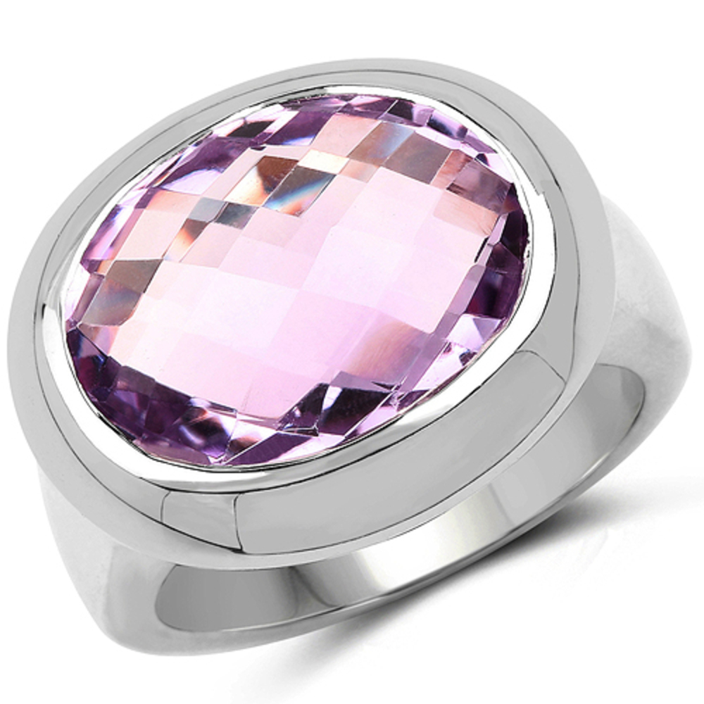 Genuine Oval Pink Amethyst Ring in Sterling Silver Size 5.00 by