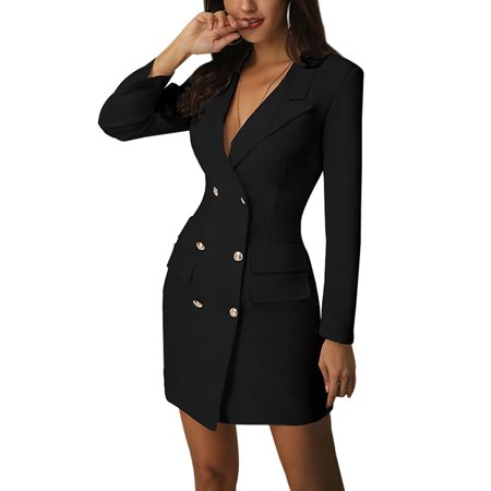 Sexy Dance Autumn Winter Suit Blazer Women 2019 New Casual Double Breasted Pocket Women Long Jackets Elegant Long Sleeve Blazer Outerwear Double Breasted Silk Coat