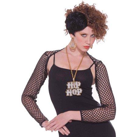 Women's Hip Hop Retro 80s Black Fishnet Mesh Costume Shrug