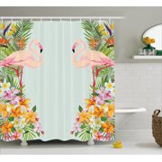 Fl Decor Shower Curtain Flamingos Tropical Flowers And Decorations For Home Print Fabric