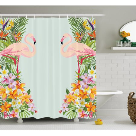 Floral Shower Curtain Flamingo Birds And Tropical Flowers Exotic Hawaiian Wildlife Animals Print Fabric Bathroom Set With Hooks Baby Blue Orange