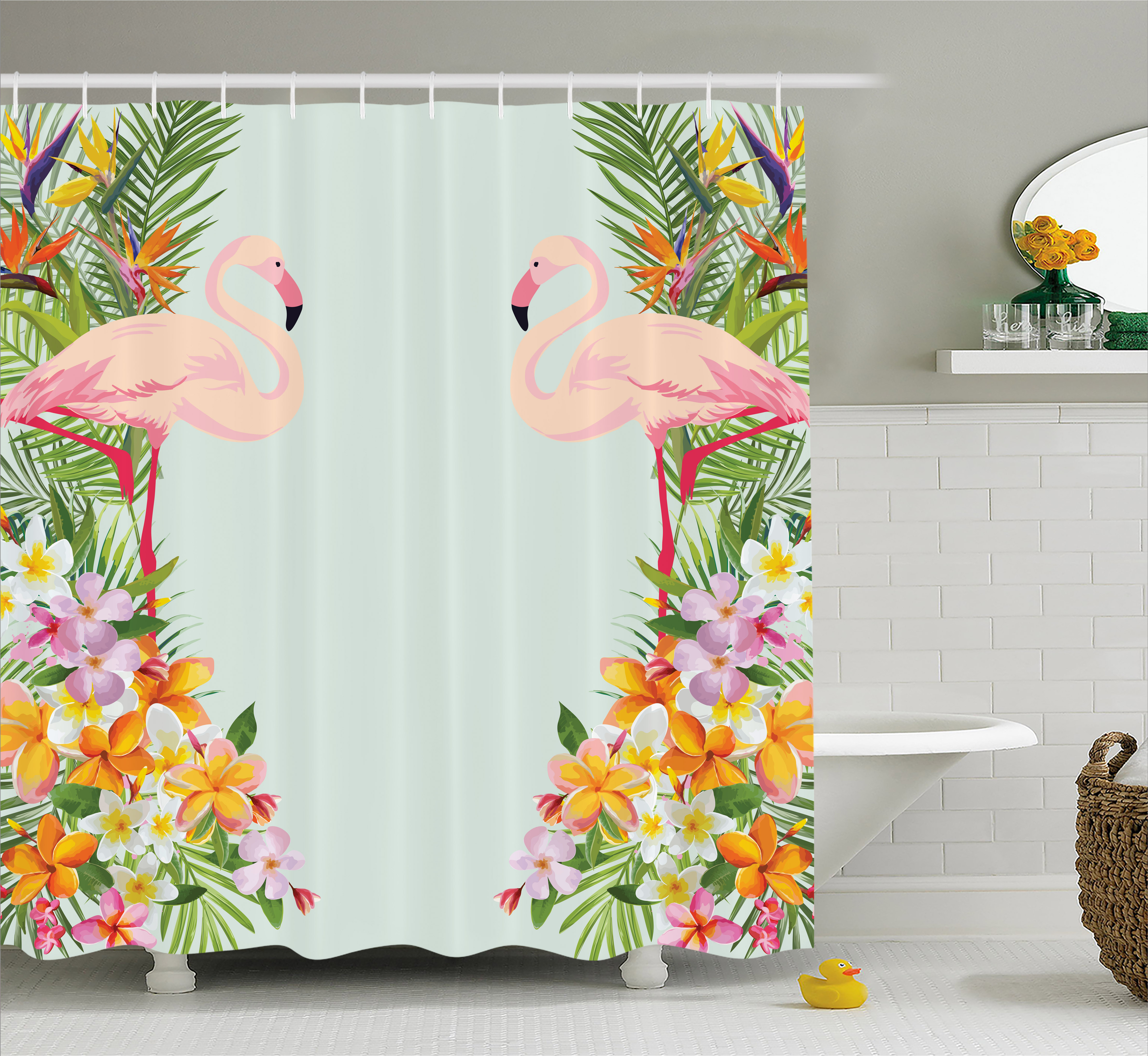 Floral Decor Shower Curtain, Flamingos Tropical Flowers and Flamingos Decorations for Home Print, Fabric Bathroom Set with Hooks, 69W X 70L Inches, Baby Blue and Orange, by Ambesonne