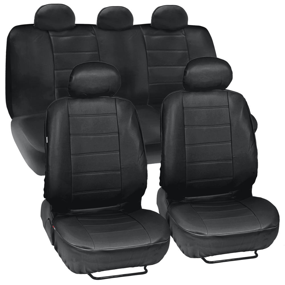 Motor Trend PU Leather Seat Covers for Car and SUV Complete Set, Premium Leatherette, Side Airbag Compatible (Black)