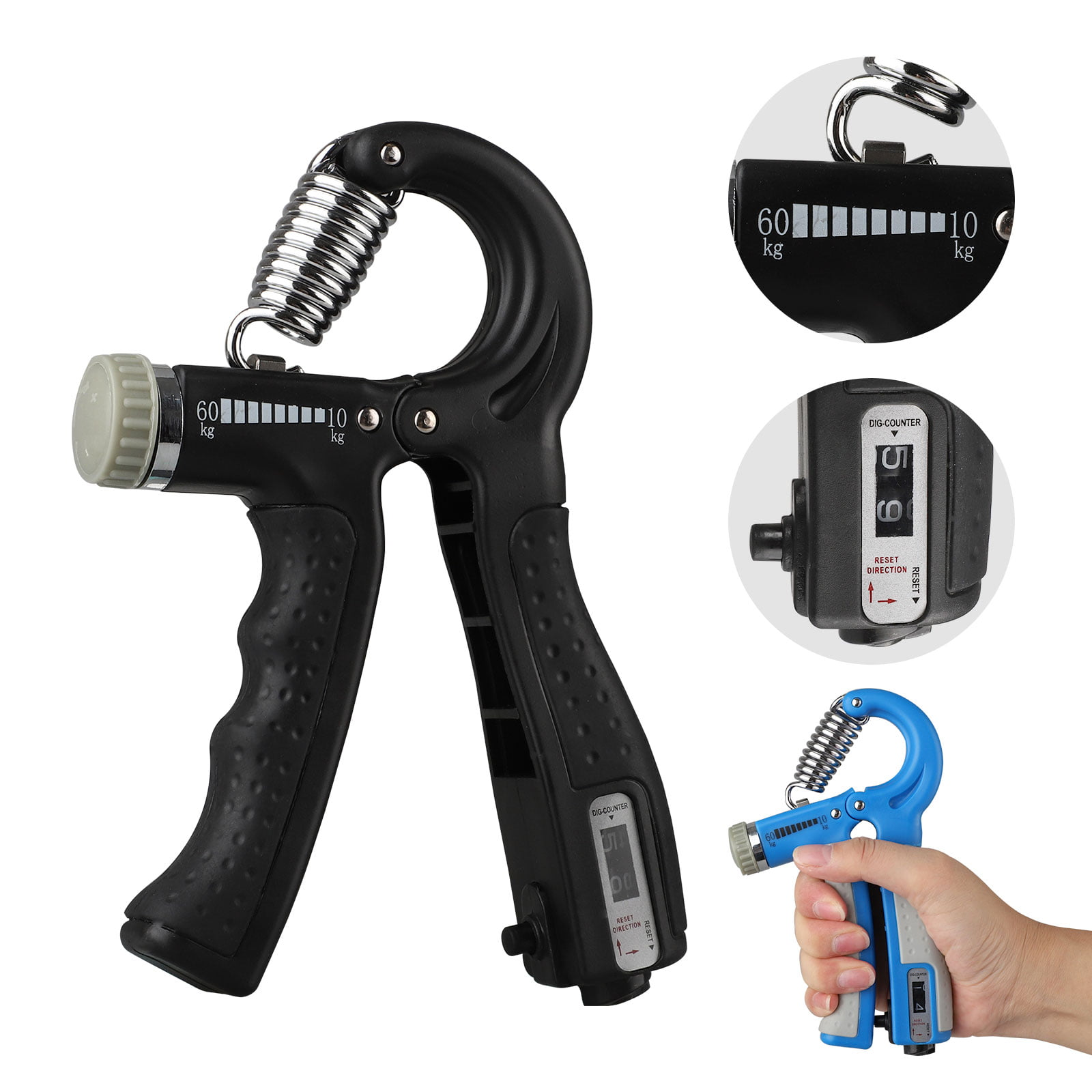KDG Hand Grip Strengthener Gold 2 Pack Adjustable Resistance 5-60 kg Forearm Exerciser,Grip Strength Trainer for Muscle Building and Injury Recovery for Athletes