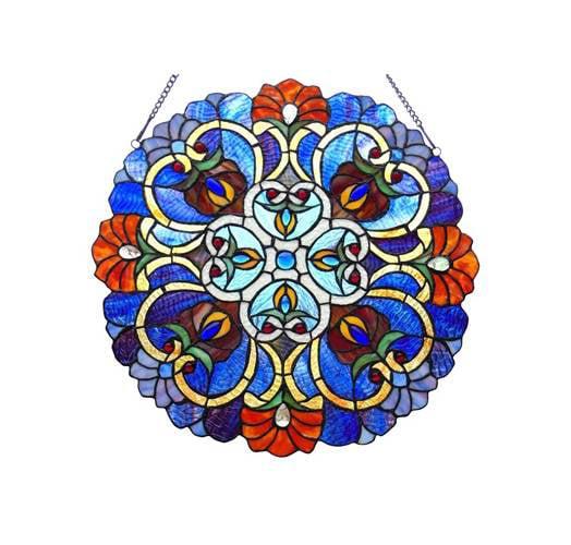 "CHLOE Lighting ANGELA Victorian Tiffany-glass Window Panel 21"" Wide"