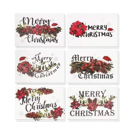36-Pack Merry Christmas Greeting Cards Bulk Box Set - Winter Holiday Xmas Greeting Cards with Festive Christmas Floral Designs, Envelopes Included, 4 x 6 Inches ()