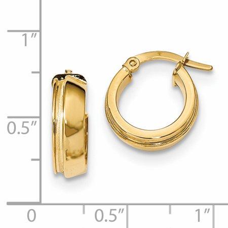 14K Yellow Gold Polished & Laser Textured Hinged Hoop Earrings - image 1 de 2