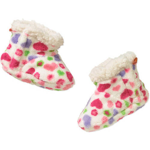 Skidders Newborn Girls Plush Bootie With