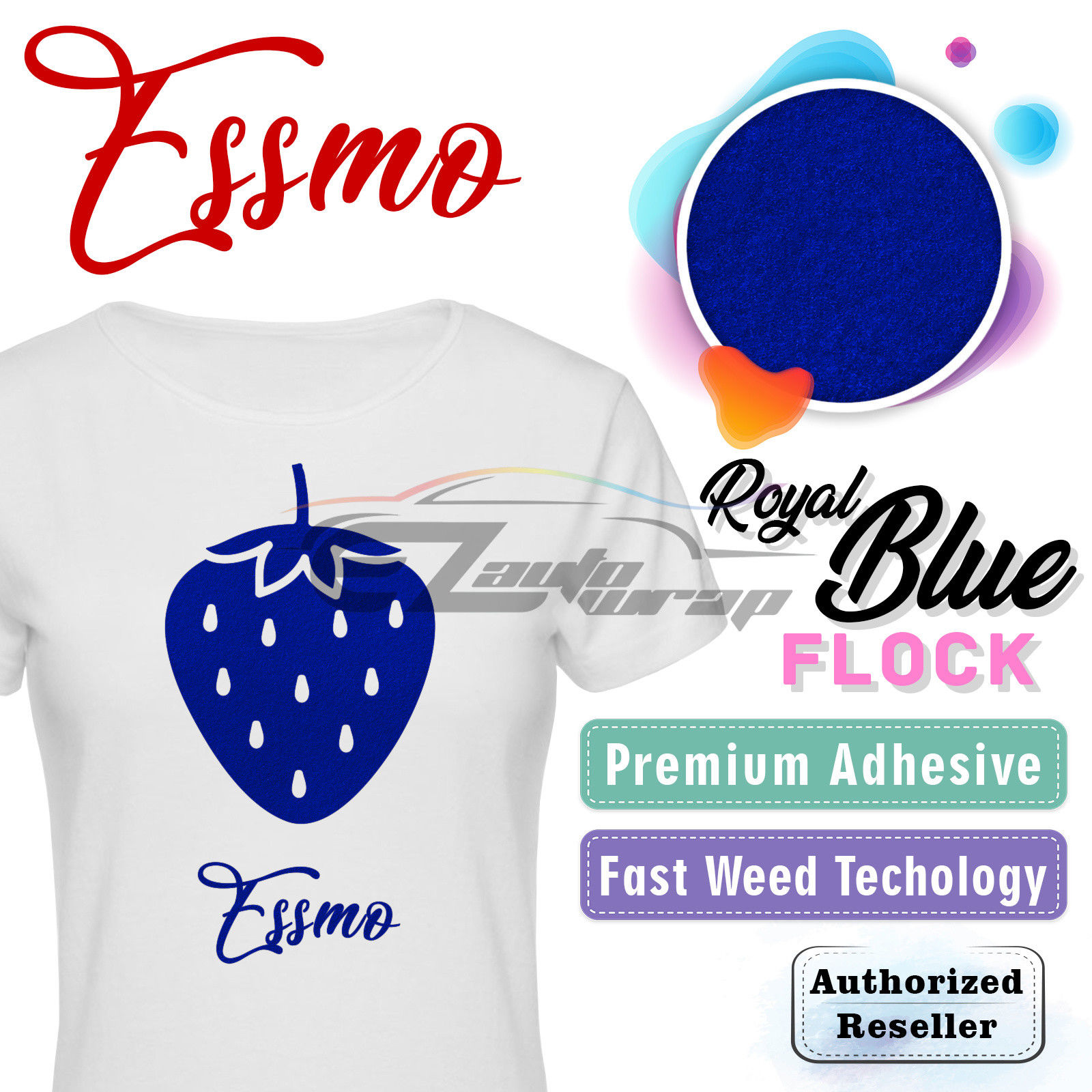 "ESSMO Royal Blue Flock Heat Transfer Vinyl HTV Sheet T-Shirt 20"" Wide Iron On Heat Press 20""x12"""