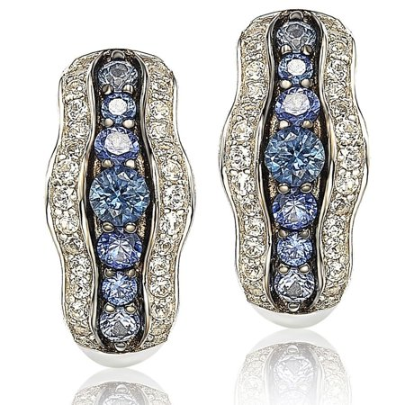 Sapphire and Diamond in Sterling Silver and 18K Gold Earring - Blue (18k White Gold Earing)