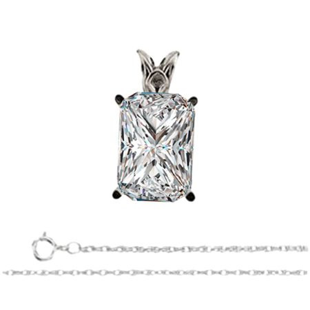 Radiant Diamond Solitaire Pendant Necklace 14K White Gold ( 1.02 Ct, E, VS1 GIA Certified)