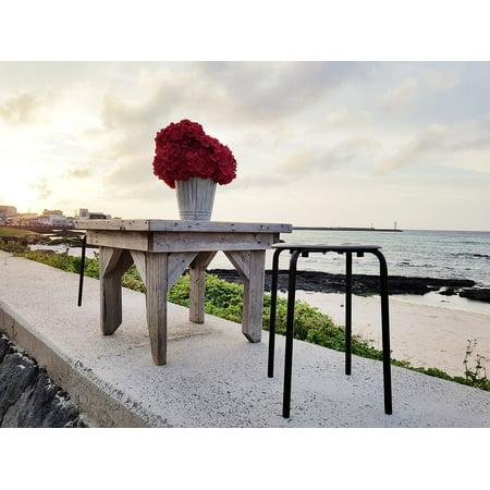 LAMINATED POSTER Jeju Island Sehwa Beach Beach Glow Table Flowers Poster Print 24 x