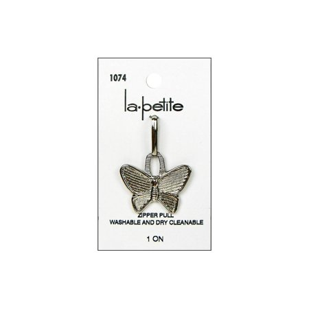LaPetite Buttons Zipper Pull Butterfly Silver 1pc