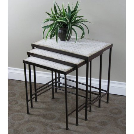 Travertine Nesting End Table Set -