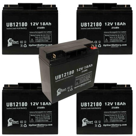 5x Pack - Compatible Anybattery 1165 Battery - Replacement UB12180 Universal Sealed Lead Acid Battery (12V, 18Ah, 18000mAh, T4 Terminal, AGM, SLA)