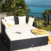 Gymax Rattan Patio Daybed Loveseat Sofa Yard Outdoor w/ Beige Cushions Pillows