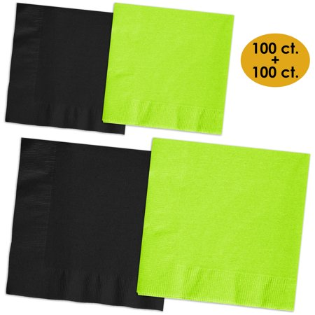 200 Napkins - Midnight Black & Lime Green - 100 Beverage Napkins + 100 Luncheon Napkins, 2-Ply, 50 Per Color Per Type - Lime Green Beverage Napkins
