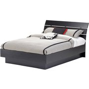 laguna full platform bed with headboard black woodgrain