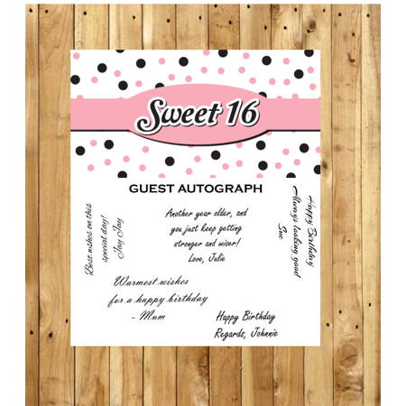 Autograph Sweet (Sweet 16 Guest Autograph Peel and Stick For Keepsake Removable Poster 13 x 24inches)