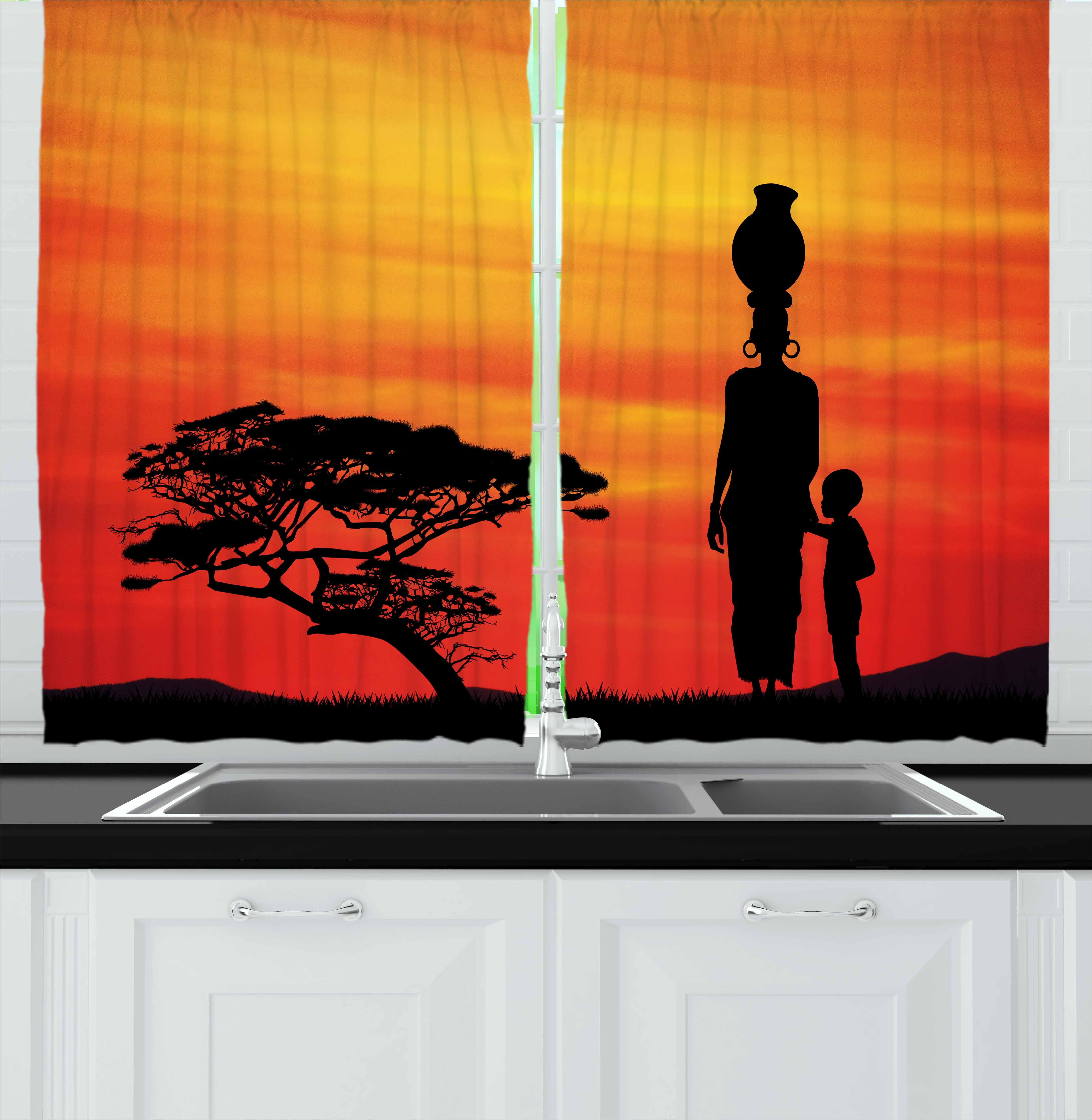 African Woman Curtains 2 Panels Set, Rural Countryside Landscape Mother and Child at Sunset Acacia Tree, Window Drapes for Living Room Bedroom, 55W X 39L Inches, Yellow Scarlet Black, by Ambesonne