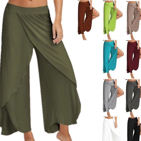 Fashion Women Casual Loose Long Pants Mid Waist Yoga Pants Chiffon Slik Pants Wide Leg Pants Plus Size