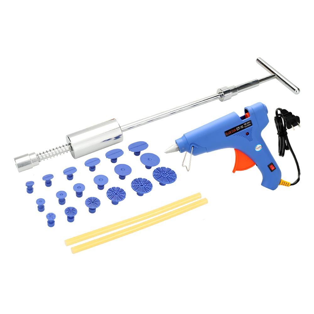 Paintless Car Dent Repair Tool Kit Slide Hammer Puller Tabs +100-240V 100W Hot Melt Glue Gun with Glue Sticks US