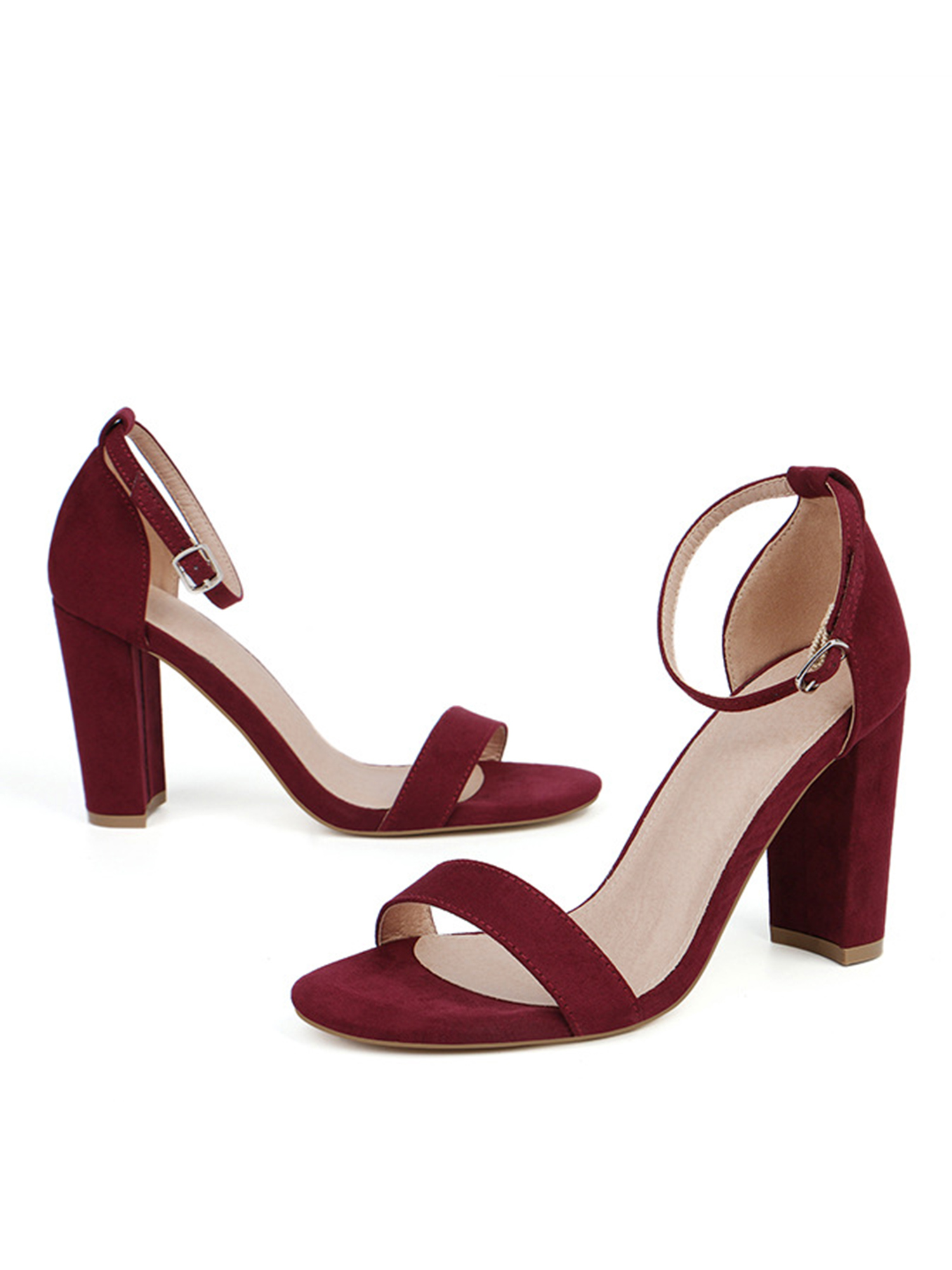 Women Bandage Ankle Strap High Heels Sandals Cross-Strap Color Matching Shoes PO