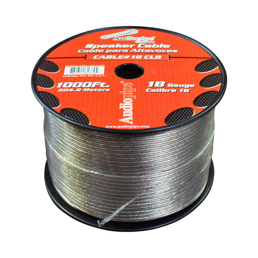 SPEAKER WIRE AUDIOPIPE 18 GA 1000' CLEAR(CBP181000)