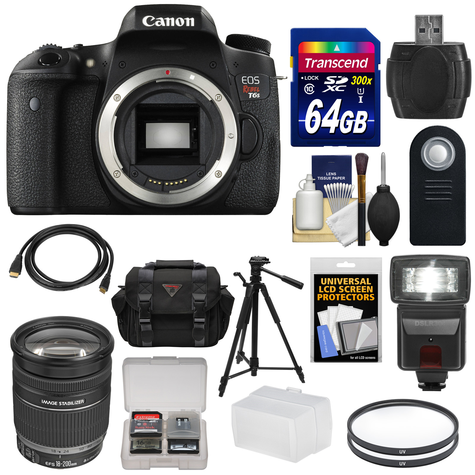 Canon EOS Rebel T6s Wi-Fi Digital SLR Camera Body with EF...