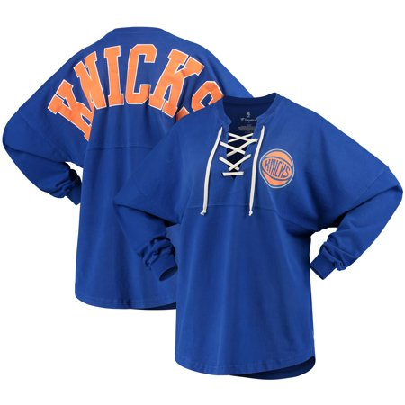 the latest c1a34 73f48 New York Knicks Fanatics Branded Women's Lace-Up Spirit Jersey Long Sleeve  T-Shirt - Blue