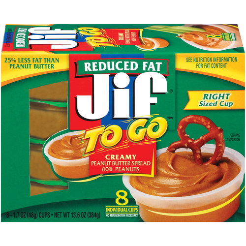 JIF Creamy Reduced Fat To Go Peanut Butter, 8 ct