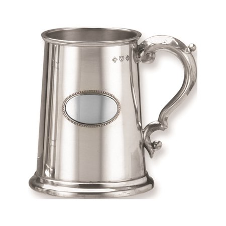 Pewter Glass Bottom - 17 Oz. Classic Stainless Steel Glass Bottom Pewter Plate Tankard Designer Jewelry by Sweet Pea