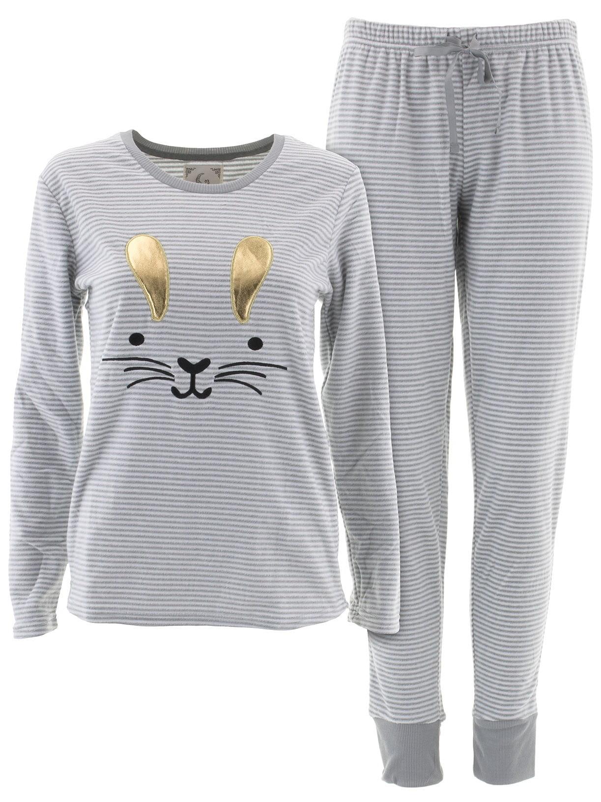 PJ Couture Women/'s Gray Bunny Fleece Pajamas