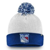 New York Rangers Fanatics Branded Depth Cuffed Knit Hat with Pom - White - OSFA