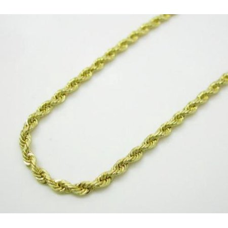 10K Yellow Solid Gold Men Womens 2.5MM Diamond Cut Rope Chain Necklace Lobster Clasp 16 to 22 Inches (22)