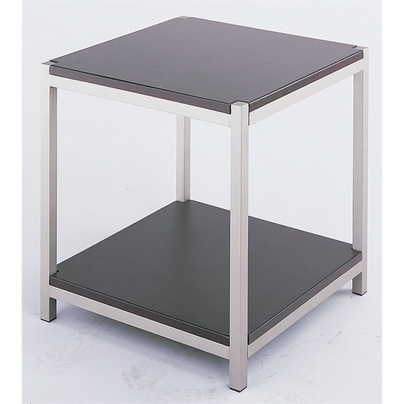 Lite Source Vista Square End Table in Satin Steel
