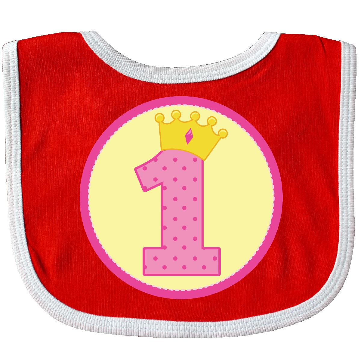 Inktastic 1st Birthday Princess Baby Bib First Girls Pink Crown Cute Gift For 1