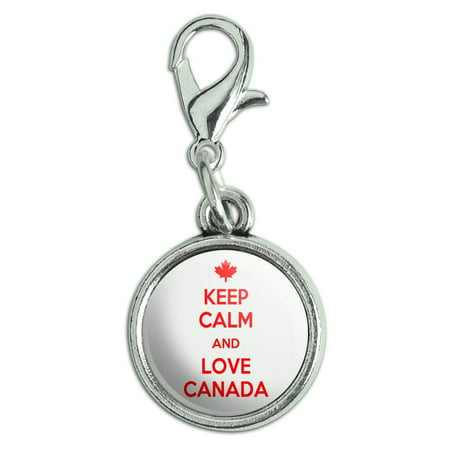 Maple Leaf Italian Charm (Keep Calm And Love Canada Maple Leaf Antiqued Bracelet Pendant Zipper Pull Charm with Lobster Clasp )