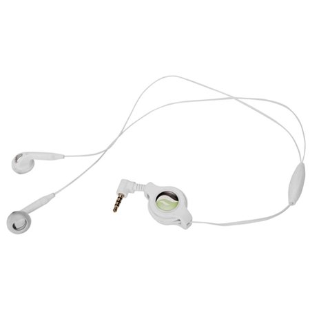 Retractable Headset Hands-free w Mic Dual Earbuds Earphones Wired Headphones 3.5mm [White] D7 for iPhone 5 5C 5S 6 Plus 6S Plus SE - Google Pixel XL - HTC 10 - Huawei P10 P9 - LG G Pad 10.1 7.0