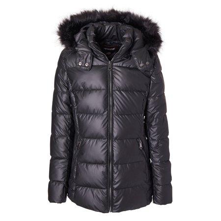 Sportoli Women's Iridescent Quilted Winter Puffer Jacket Coat Fur Trim Hood - Black (Size Small) Small Jacket Coat