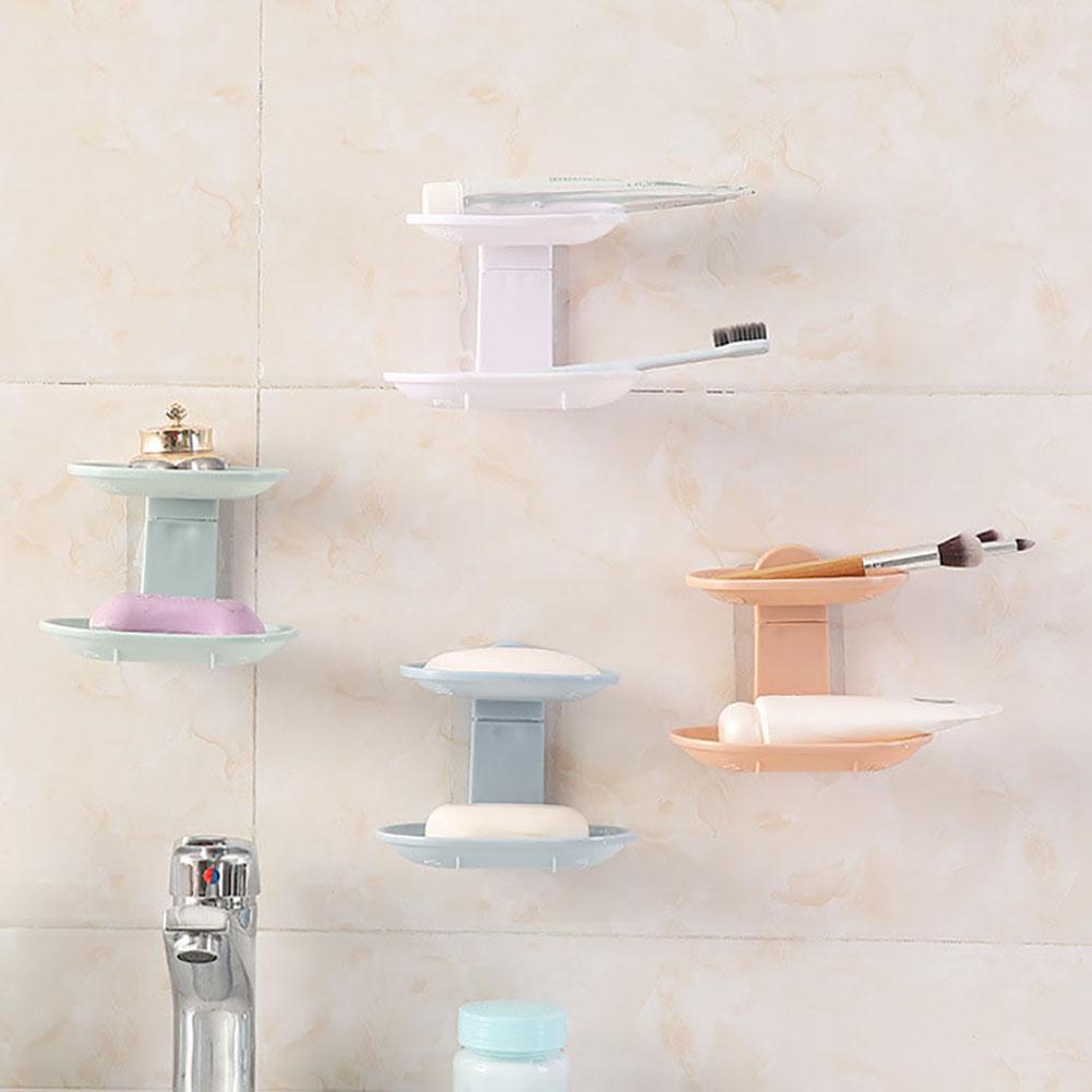 Moderna Nordic Bathroom Double Layer Adhesive Soap Dish Drain Box Storage Wall Holder