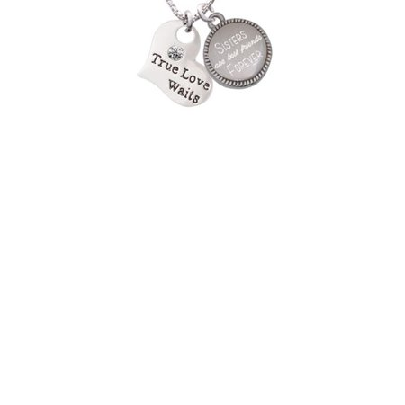 Silvertone Large True Love Waits Heart Sisters Are Best Friends Forever Engraved