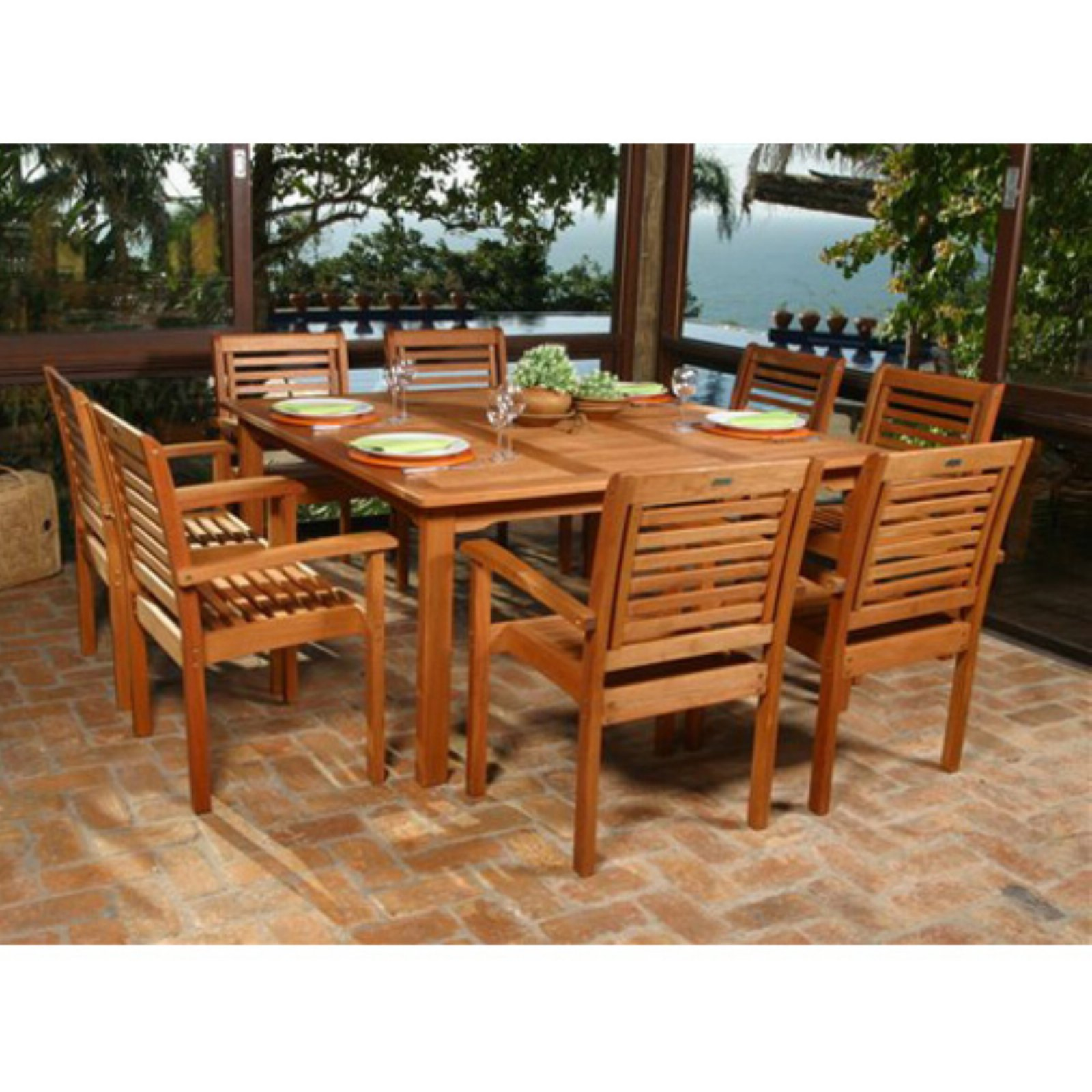 Milano Eucalyptus Square 9-Piece Patio Dining Set, Brown