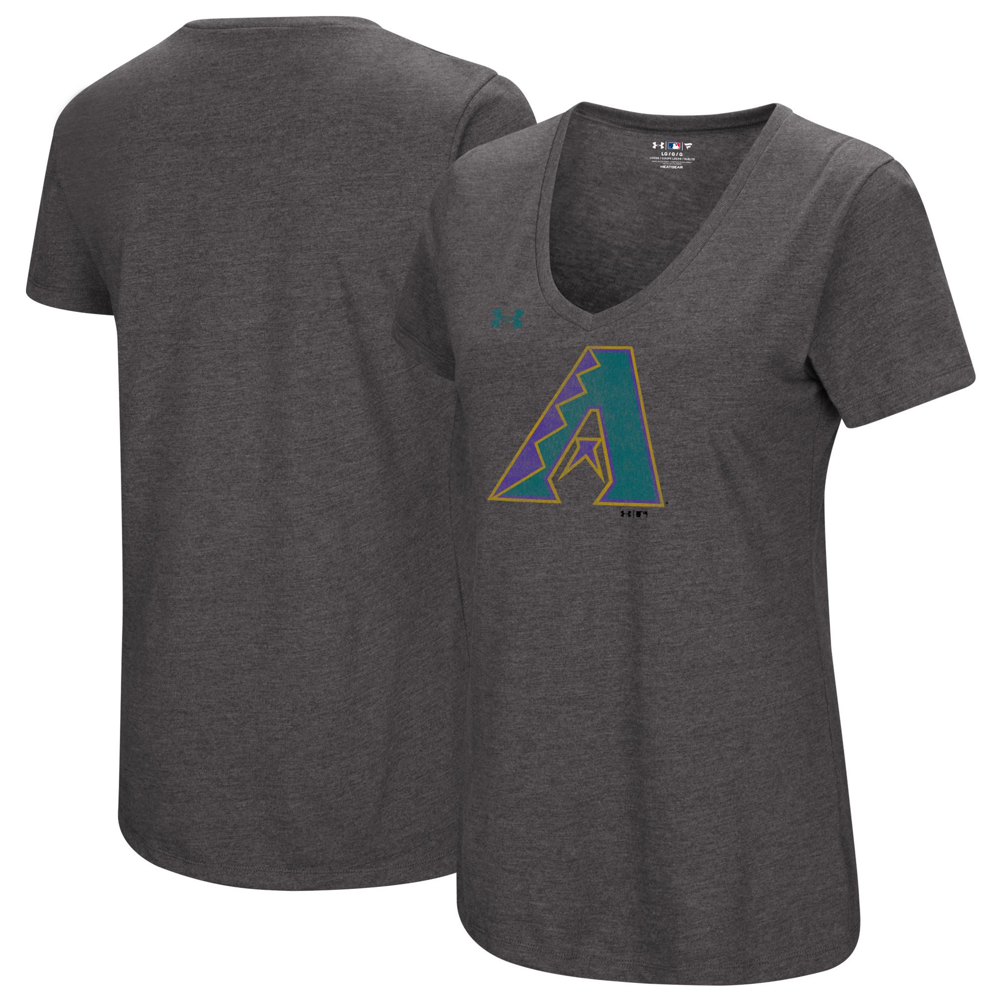 Arizona Diamondbacks Under Armour Women's Cooperstown Collection Logo Performance Tri-Blend V-Neck T-Shirt - Heathered Charcoal