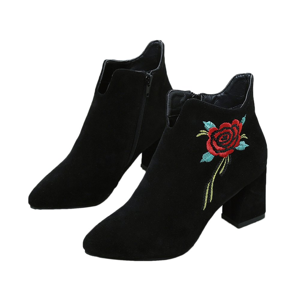 Fashion Women Short Boots Casual Flower Embroidery Suede High Heel Embroidered Detail Ankle