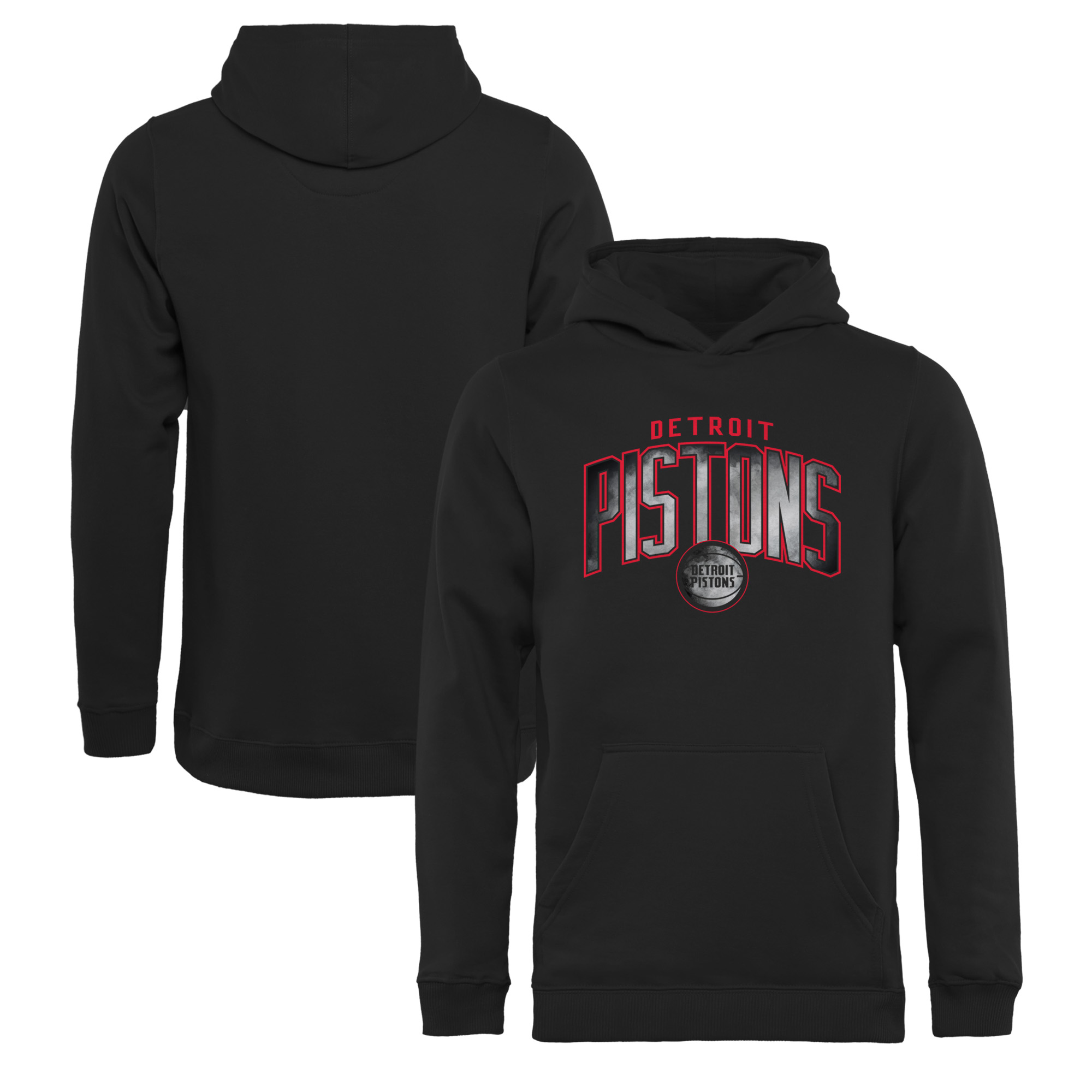 Detroit Pistons Fanatics Branded Youth Arch Smoke Pullover Hoodie - Black